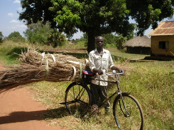 A bicycler in the countryside in Uganda