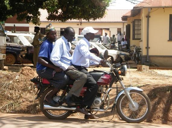 Riding a bota-bota in Uganda