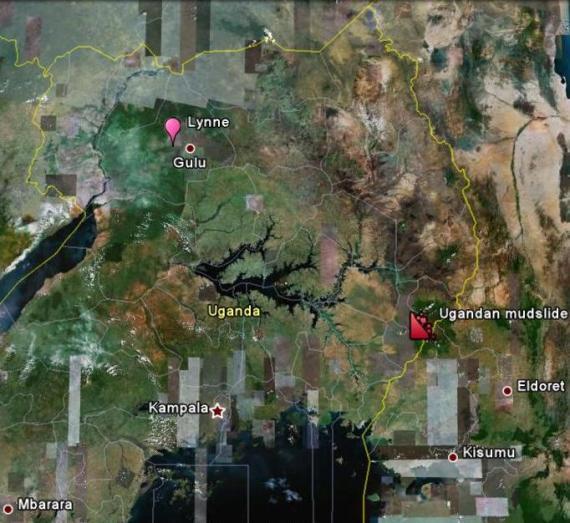 Ugandan mudslide location v. Gulu - 180 miles apart